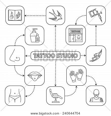 Tattoo Studio Mind Map With Linear Icons. Piercing Service Concept Scheme. Tattoo Sketches, Equipmen