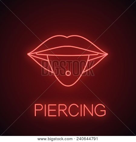 Pierced Tongue Neon Light Icon. Tongue With Ring. Piercing Glowing Sign. Vector Isolated Illustratio
