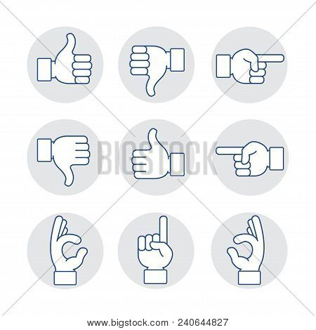Hands Vector Illustration Thin Line Art Icons Set. Hand Gesture Line Icon Set In Modern Geometric St