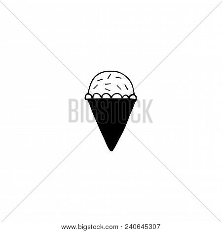 Vector Hand Drawn Object, Cupcake Silhouette. Logo Element For Kitchen Related Business Branding And