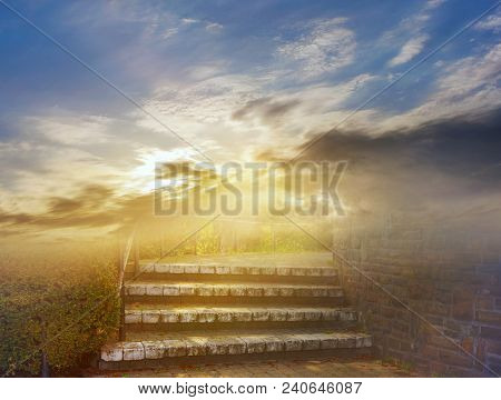 Steps Leading Up To The Sun .  Way To God .  Bright Light From Heaven .  Religious Background   . Li