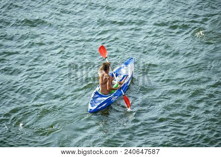 Aerial View of Kayaker on the Beautiful River or Lake