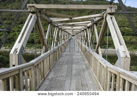 A Historic Bridge At The Brunner Heritage Area, Near Greymouth, New Zealand