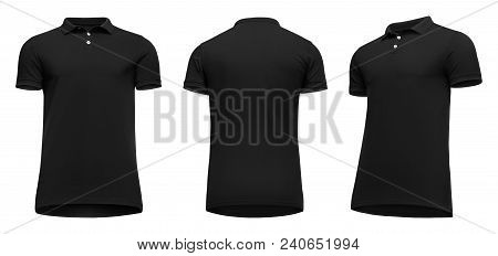 Blank Template Men Black Polo Shirt Short Sleeve, Front And Back View Half Turn Bottom-up, Isolated