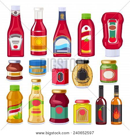 Sauces And Dressings Bottles Set. Ketchup, Mayonnaise And Mustard. Good Fro Supermarket Design.