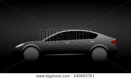 Silhouette Of A Dark Luxury Modern Car With Aerodynamic Shape On A Black Background