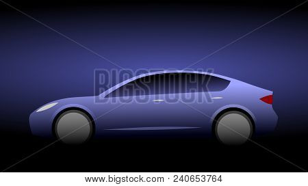 Silhouette Of A Blue Luxury Modern Car With Aerodynamic Shape On A Black Background