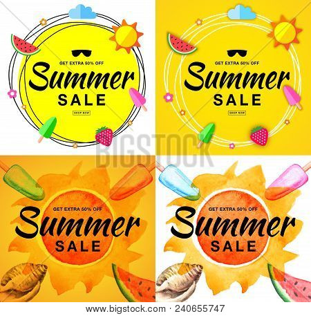 Summer Sale Template Banners. Hand Drawn Lettering. Scribble Circle On Bright Yellow Background With