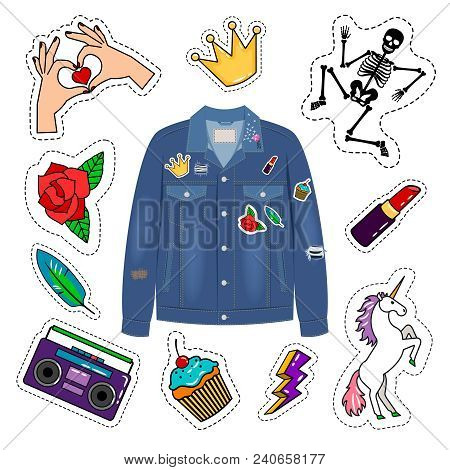 Patches Denim Jacket Vector Photo Free Trial Bigstock