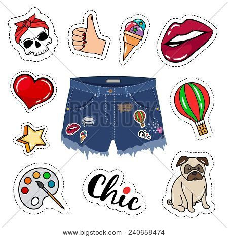 Trendy Shorts. Chic Woman Denim Short Trousers, Girl Model Ripped Jeans Shorts Isolated On White Bac