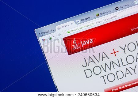 Ryazan, Russia - May 13, 2018: Java Website On The Display Of Pc, Url - Java.com