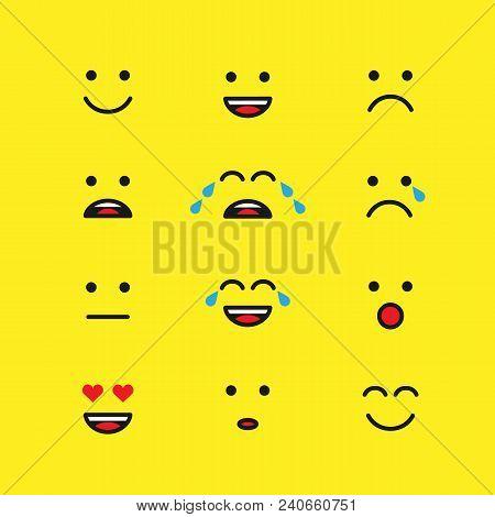Set Of Emoticons Or Emoji Illustration Line Icons. Smile Icons Vector Line Art Illustration Isolated