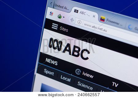 Ryazan, Russia - May 13, 2018: Abc Website On The Display Of Pc, Url - Abc.net.au
