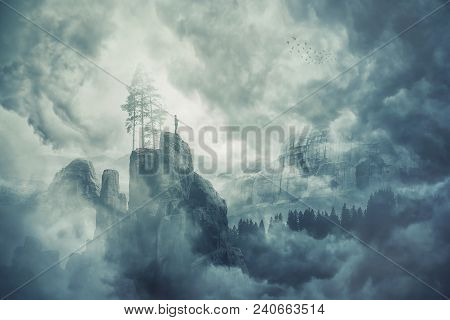 Man Silhouette Of The Top Of A Mountain In The Fog, Enjoy The Silence Of The Misty Valley In The Mor