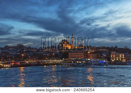 Istanbul, Turkey: View Of Suleymaniye Mosque, One Of The Symbol Of Istanbul By Mimar Sinan After Sun