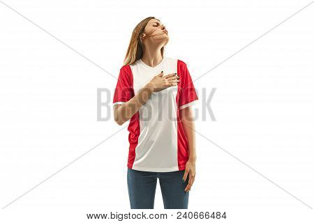 French Female Fan Celebrating On White Background. The Young Woman In Soccer Football Uniform As Win