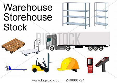 Elements Of The Warehouse, Wagon, Data Collection Terminal, Loader, Wagon, Rack, Pallet