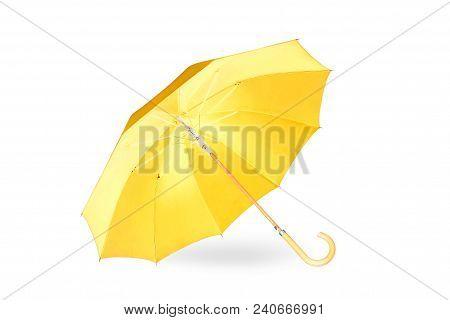 Modern Orange Umbrella Isolated On White Background With Shadow.