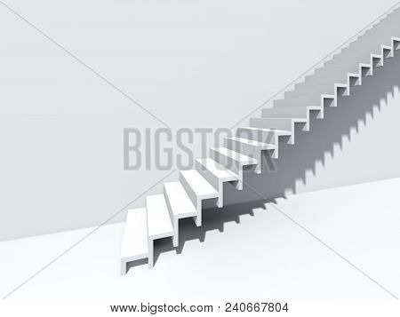 Conceptual stair on wall background building or architecture as metaphor to business success, growth, progress or achievement. 3D illustration of creative steps riseing up to the top as vision design