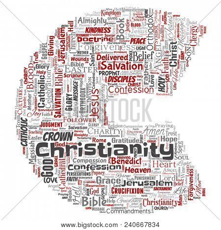 Conceptual christianity, jesus, bible, testament letter font C red  word cloud isolated background. Collage of teachings, salvation resurrection, heaven, confession, forgiveness, love concept poster