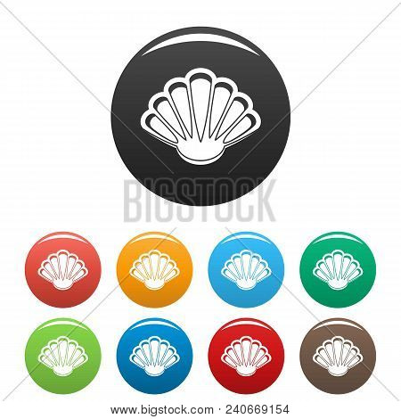 Nice Shell Icon. Simple Illustration Of Nice Shell Vector Icons Set Color Isolated On White