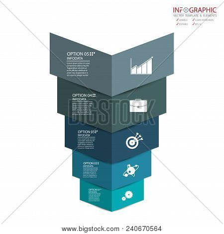 Vector Abstract Element Infographics 5 Option. Design For Business Or Finance Template Layout, Broch