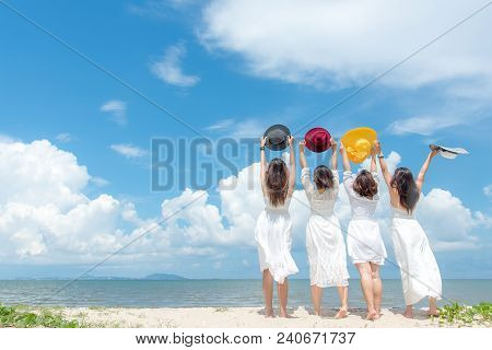 Smiling Group Woman Wearing Fashion White Dress Summer Walking On The Sandy Ocean Beach, Beautiful B