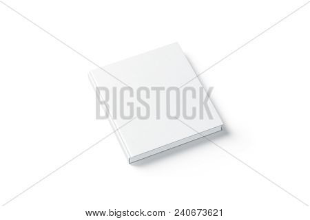 Blank White Square Hardback Book Mock Up, Side View, Isolated, 3d Rendering. Empty Notebook Hard Cov