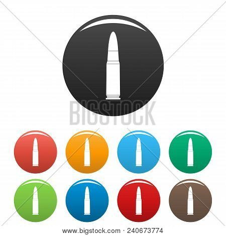 Shot Cartridge Icon. Simple Illustration Of Shot Cartridge Vector Icons Set Color Isolated On White