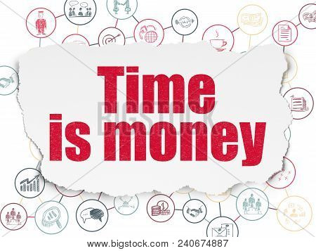 Business Concept: Painted Red Text Time Is Money On Torn Paper Background With Scheme Of Hand Drawn
