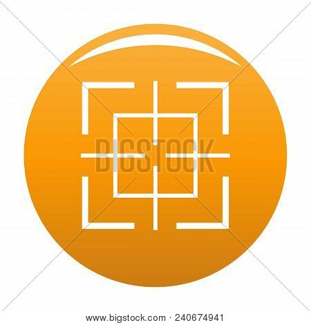 Square Target Icon. Simple Illustration Of Square Target Vector Icon For Any Design Orange