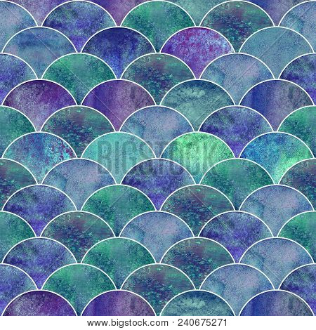 Fish Scale Ocean Wave Japanese Seamless Pattern. Watercolor Hand Drawn Purple Blue Teal Colorful Tex