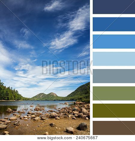 Jordan Pond, Acadia National Park, Mount Desert Island, maine, USA. In a colour palette with complimentary colour swatches.