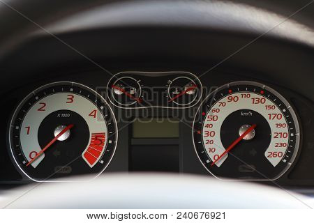 Car Interior Dashboard Details With Indication Lamps. Car Detailing. Car Instrument Panel.
