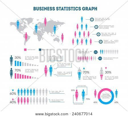 Cartoon Business Statistics Graph Infographic Card Poster With Map, Woman, Man And Diagrams. Vector