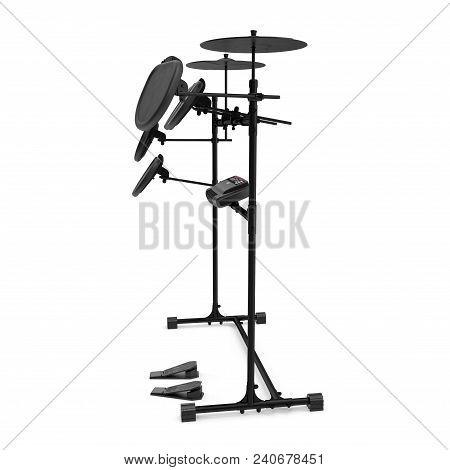Electronic Drum Kit On White Background. 3d Illustration