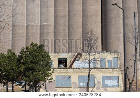grain storage silos and dilapidated building in minneapolis minnesota hennepin county