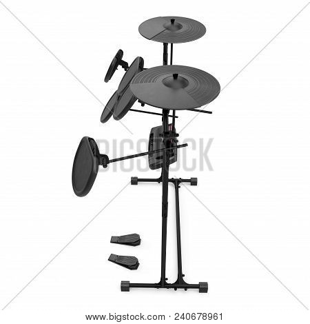 Electronic Drum Kit On White Background. Side View. 3d Illustration