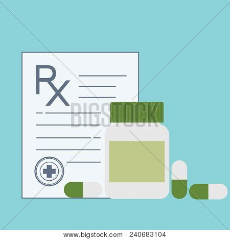 Medicine Bottle And Pills. Drugs, Tablets, Capsules Vitamins. Medical Capsules Container. Medical Pr