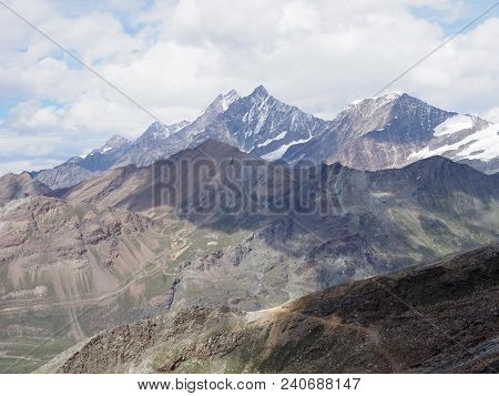 View Of Geological Alpine Mountains Range Landscapes In Swiss Alps At Switzerland, Rocky Scenery Fro