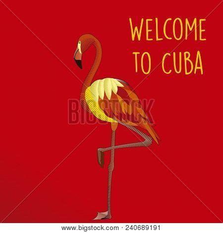 Flamingo Advertising Image On Red Havana Background In Cuba