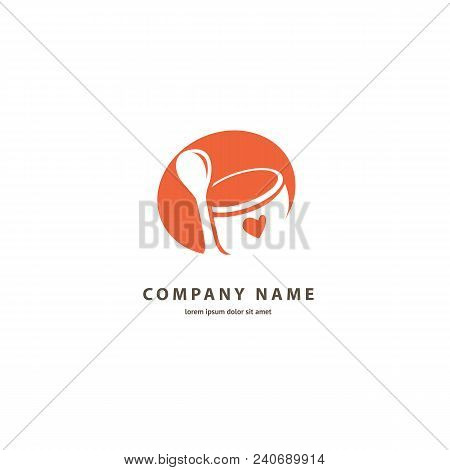 Illustration Design Of Silhouette Logotype Coffee. Vector Icon Cup With Drink.