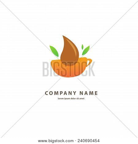 Illustration Design Of Colored Logotype Coffee. Vector Icon Cup With Drink.