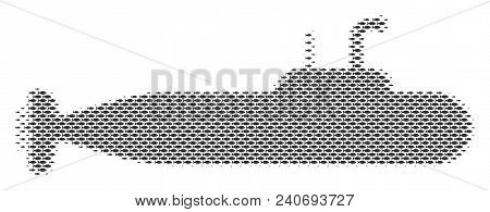 Fish Military Submarine Halftone Composition. Vector Fish Pictograms Are United Into Military Submar