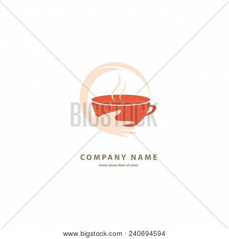 Illustration Design Of Colored Brown Logotype Coffee. Vector Icon Cup With Drink.