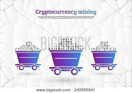Abstract Mining Concept With Trolleys, Computer Code And Stones. The Concept Of Coding And Mining Of