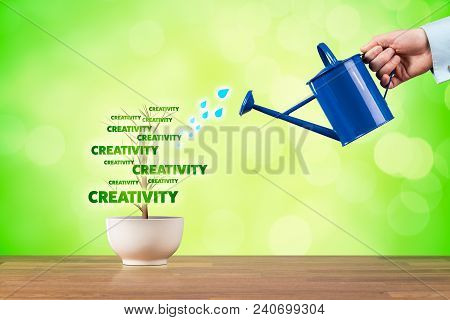 Business Creativity Growth Concept. Creativity Growth Represented By Plant Watered By Businessman.
