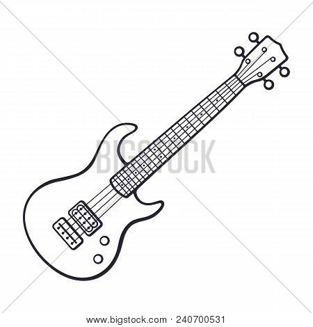 Vector illustration. Hand drawn doodle of classical rock electro or bass guitar. String plucked musical instrument. Rock, blues, ska or jazz equipment. Cartoon sketch. Isolated on white background poster