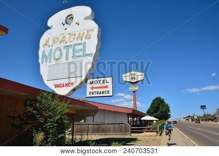 Tucumcari, New Mexico - July 21: Apache Motel On Historic Route 66 On July 21, 2017 In Tucumcari, Ne