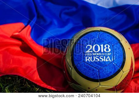 Moscow, Russia. May 13, 2018. Souvenir Ball With The Emblems Of The Fifa World Cup 2018 In Moscow, T